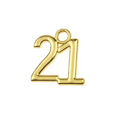 Μεταλλική ημερομηνία 21 χρυσαφί 2x2εκ 50τεμ