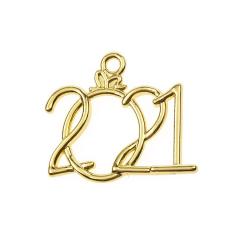Μεταλλική ημερομηνία 2021 χρυσαφί 25x15mm 50τεμ