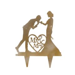 Topper γαμήλιας τούρτας Mr&Mrs 15x14εκ