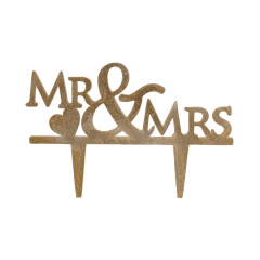Topper γαμήλιας τούρτας χρυσό Mr&Mrs 7x18εκ