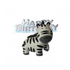 Διακοσμητικό τούρτας ζέβρα και Happy Birthday