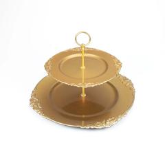Διπλός δίσκος τουρτιέρα χρυσός 35x35εκ