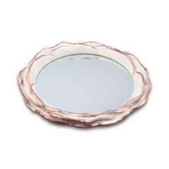 Δίσκος ξύλινος στρογγυλός με καθρέφτη
