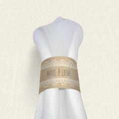 Δαχτυλίδι Πετσέτας Γάμου MyMastoras Lace Brown