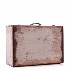 Ξύλινη βαλίτσα vintage καφέ με λευκό