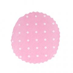 Πανάκια ροζ με πουά στρογγυλό 12 5 εκ. διάμετρος / 50τεμ