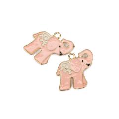 Ελεφαντάκι μεταλλικό επισμαλτωμένο ροζ 25x25mm 5τεμ