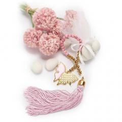Μπομπονιέρα βάπτισης ροζ μεταλλική πεταλούδα