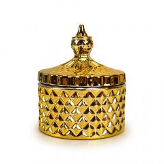 Φοντανιέρα γυάλινη ανάγλυφη χρυσή 8x10εκ