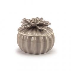 Φοντανιέρα κεραμική με καπάκι λουλούδι γκρι 8x6εκ
