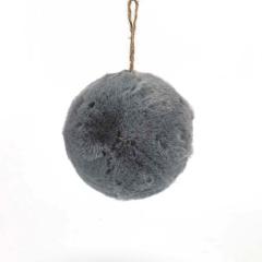 Γούνινη διακοσμητική μπάλα γκρι 12εκ