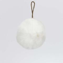Γούνινη διακοσμητική μπάλα λευκή 9εκ