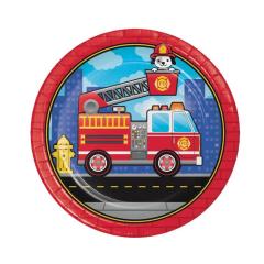 Χάρτινα πιάτα φαγητού Flaming Fire Truck 8τεμ