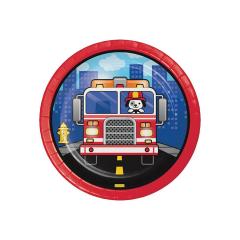 Χάρτινα πιάτα γλυκού Flaming Fire Truck 8τεμ