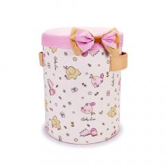 Υφασμάτινο κουτί βάπτισης ζωάκια ζούγκλας ροζ