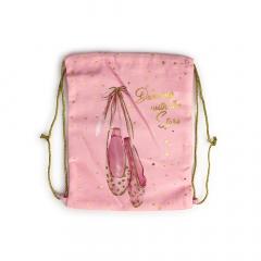 Υφασμάτινο σακίδιο πλάτης ροζ πουέντ 30x25εκ