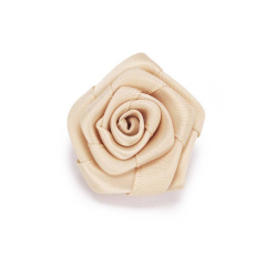 Σατέν λουλούδι ιβουάρ 4εκ 5τεμ