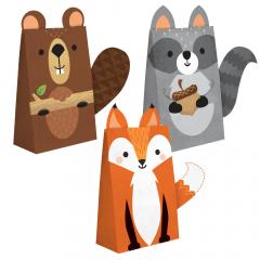 Χάρτινες σακούλες δώρου Woodlands animals 8τμχ