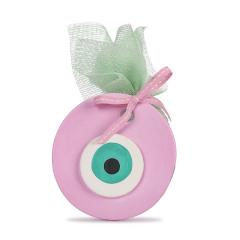 Μπομπονιέρα βάπτισης κρεμαστή πίλινο μάτι ροζ