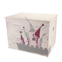 Κουτί βάπτισης ξύλινο με θέμα κάστρο για πριγκίπισσα