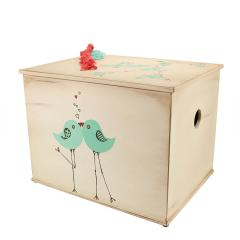 Κουτί βάπτισης ξύλινο με θέμα πουλάκια