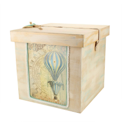 Κουτί βάπτισης ξύλινο με θέμα αερόστατο