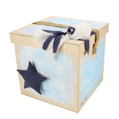 Κουτί βάπτισης ξύλινο με θέμα αστεράκι