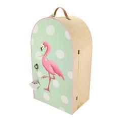 Ξύλινη βαλίτσα ντουλάπαμε θέμα Pink Flamingo