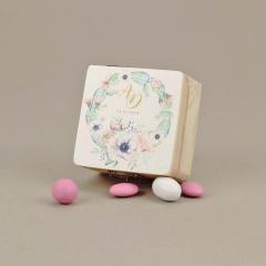 Μπομπονιέρα γάμου ξύλινο κουτάκι με εκτύπωση