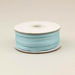 Κορδέλα βαμβακερή γαλάζια με ραφή 6mm