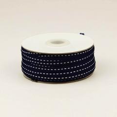 Κορδέλα βαμβακερή μαύρη με ραφή 6mm