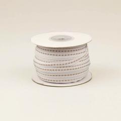 Κορδέλα βαμβακερή λευκή με ραφή 6mm