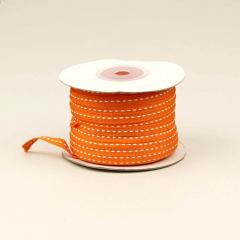 Κορδέλα βαμβακερή πορτοκαλί με ραφή 6mm