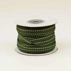 Κορδέλα βαμβακερή πράσινη με ραφή 6mm