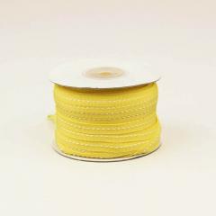 Κορδέλα βαμβακερή κίτρινη με ραφή 6mm