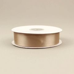 Κορδέλα σατέν διπλής όψης καφέ 25mm 50m