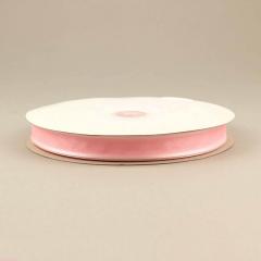 Κορδέλα οργάντζα 15mm με σατέν περίγραμμα ροζ
