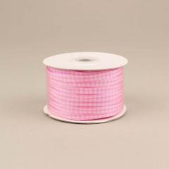 Κορδέλα υφασμάτινη καρό 6mm ροζ