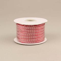Κορδέλα υφασμάτινη καρό 6mm κόκκινη