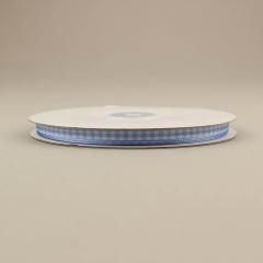 Κορδέλα υφασμάτινη καρό 6mm σιέλ