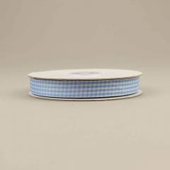 Κορδέλα υφασμάτινη καρό 15mm σιέλ