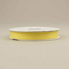 Κορδέλα υφασμάτινη καρό 15mm κίτρινο