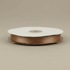 Κορδέλα σατέν διπλής όψης καφέ 15mm 50m