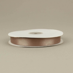 Κορδέλα σατέν διπλής όψης καφέ ανοιχτό 15mm 50m