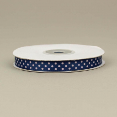 Κορδέλα γκρό blue navy με λευκά τυπωμένα πουά 10mm