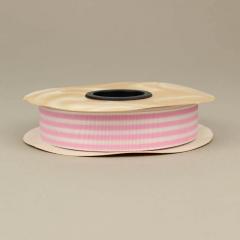 Κορδέλα γκρό ριγέ λευκή με ροζ γραμμές
