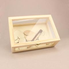 Κουτί ευχών ξύλινο με τζάμι μικρό 29*20*10 εκ.