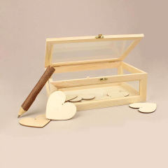 Κουτί ευχών ξύλινο με τζάμι 31*21*12 εκ.