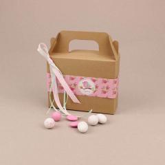 Μπομπονιέρα χάρτινο βαλιτσάκι lunch box με φλοράλ αυτοκόλλητο