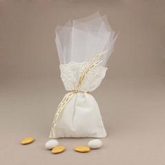 Μπομπονιέρα γάμου υφασμάτινο πουγκί με τούλι
